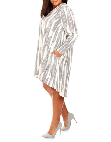 Rebel Wilson Striped V-Neck Hi-Lo Dress-ASSORTED-2X