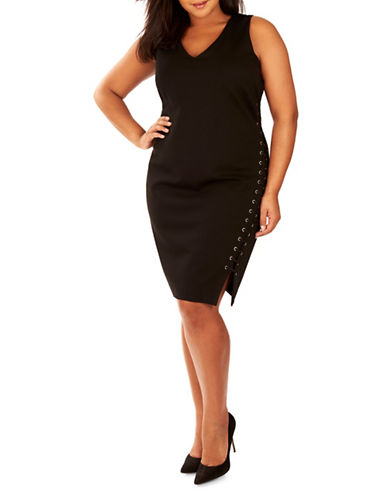 Rebel Wilson Lace-Up Sheath Dress-BLACK-2X