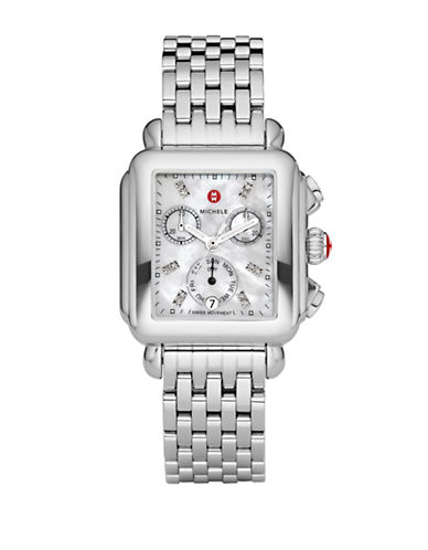 Michele Deco Mother-of-Pearl and Stainless Steel Chronograph Watch-SILVER-One Size