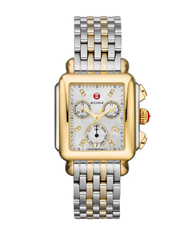 Michele Deco Mother-of-Pearl and Stainless Steel Chronograph Watch-GOLD-One Size