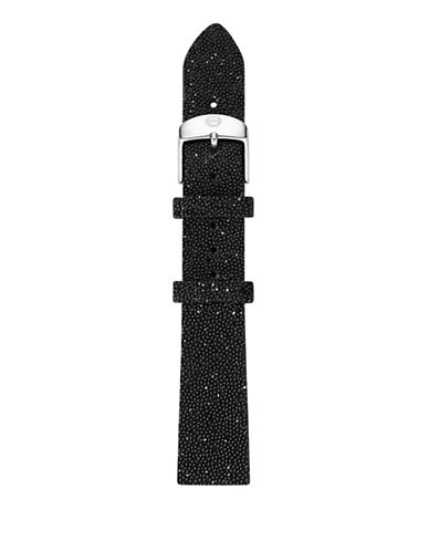 Michele 16mm Black Sparkle Leather Watch Strap-BLACK-One Size