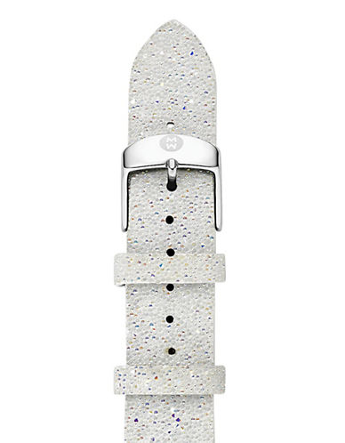 Michele 18mm White Sparkle Leather Watch Strap-WHITE-One Size