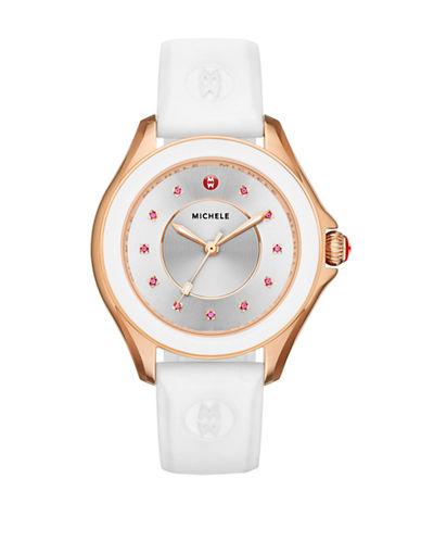 Michele Cape Topaz White Silicone Watch-WHITE-One Size