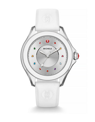 Michele Cape Multi-Topaz Silicone Watch-WHITE-One Size