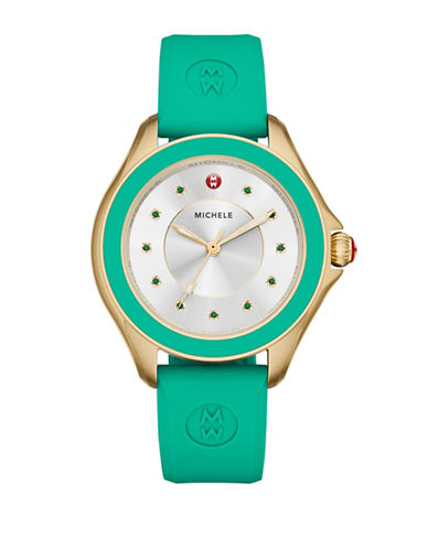 Michele Cape Goldtone Green Topaz Silicone Strap Watch-GREEN-One Size