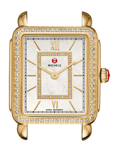 Michele Analog Deco II Goldtone Diamond Watch Head-GOLD-One Size