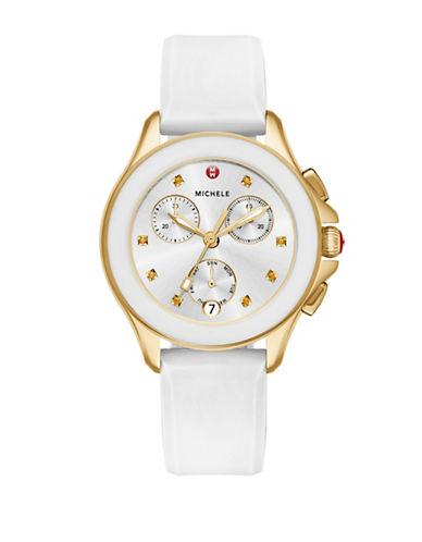 Michele Cape Chronograph Yellow Topaz Silicone Strap Watch-WHITE-One Size