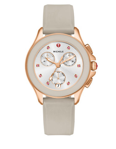 Michele Cape Chronograph Gold-Plated Silicone Strap Watch-ROSE GOLD-One Size