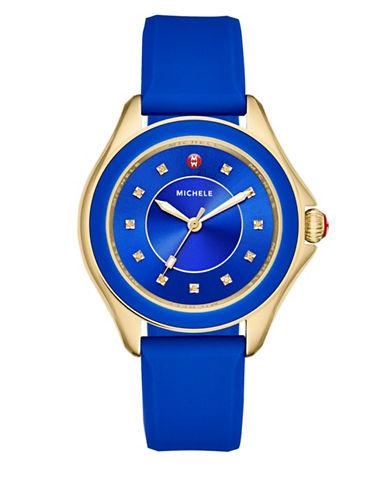 Michele Analog Topaz Goldtone Silicone Strap Watch-BLUE-One Size