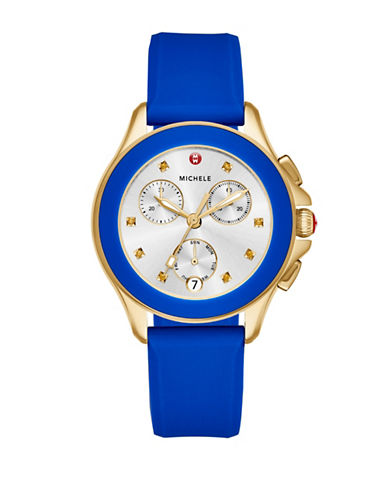 Michele Cape Chronograph Gold-Plated Silicone Strap Watch-GOLD-One Size