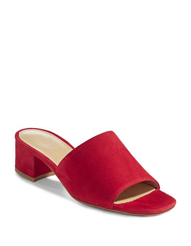 Maryam Nassir Zadeh Suede Banded Mules-CHERRY RED-EUR 38/US 8