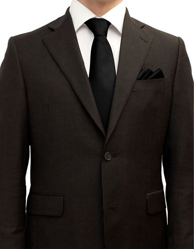 Henkaa Tie and Pocket Square Set-BLACK-One Size