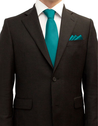 Henkaa Tie and Pocket Square Set-TURQUOISE-One Size