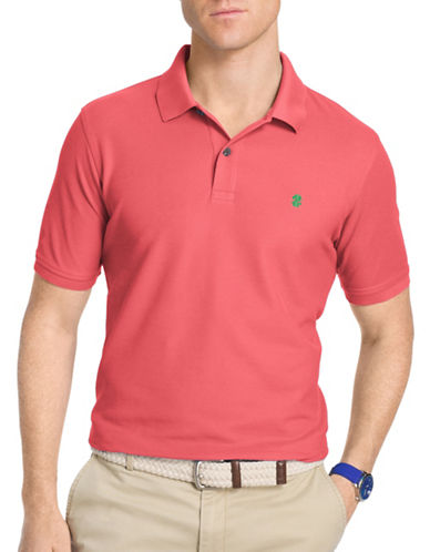 Izod Solid Knit Polo-PINK-Large