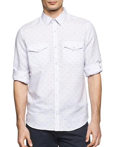 Calvin Klein Printed Cotton-Linen Button-Up Shirt-WHITE-X-Large