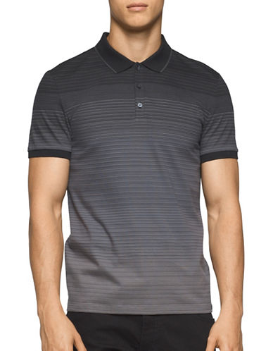 Calvin Klein Classic Fit Ombre Stripe Polo Shirt-GREY-Small