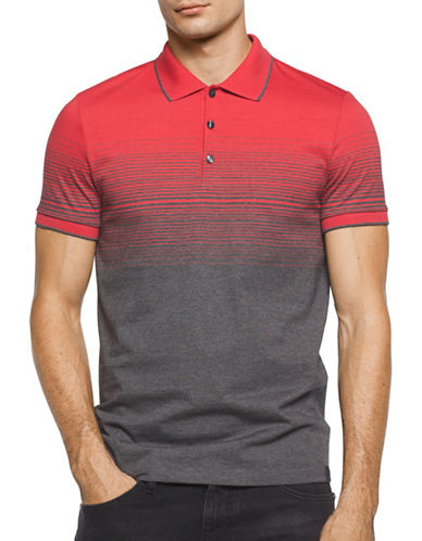 Calvin Klein Classic Fit Ombre Stripe Polo Shirt-RED-Small
