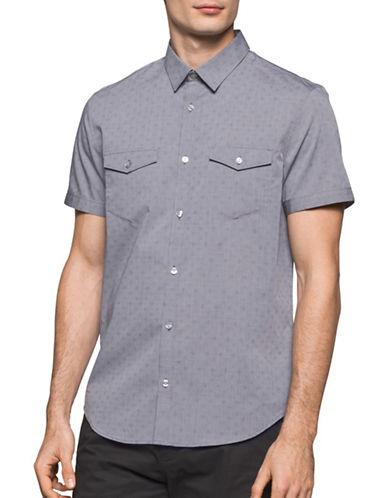 Calvin Klein Short Sleeve Printed Cotton Shirt-GREY-Small