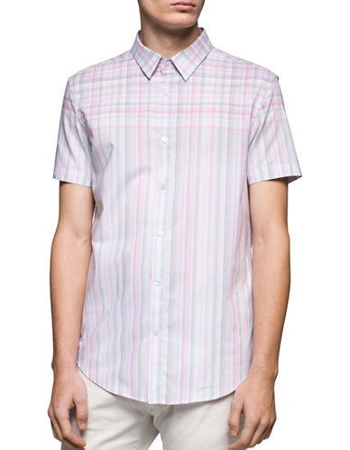 Calvin Klein Slim Fit Dobby Plaid Shirt-WHITE-Medium