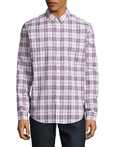 Calvin Klein Classic Fit Roll-Tab Shirt-LIGHT PINK-Large