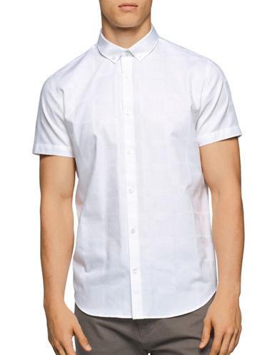 Calvin Klein Tonal Plaid Sport Shirt-WHITE-Large