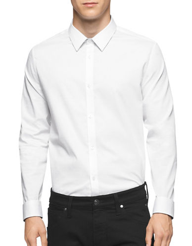 Calvin Klein Infinite Cool Textured Sport Shirt-WHITE-X-Large