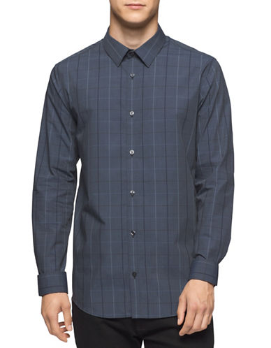 Calvin Klein Infinite Cool Grid Check Sport Shirt-GREY-X-Large