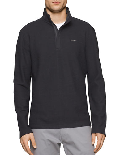 Calvin Klein Zip Placket Pullover-BLACK-Small