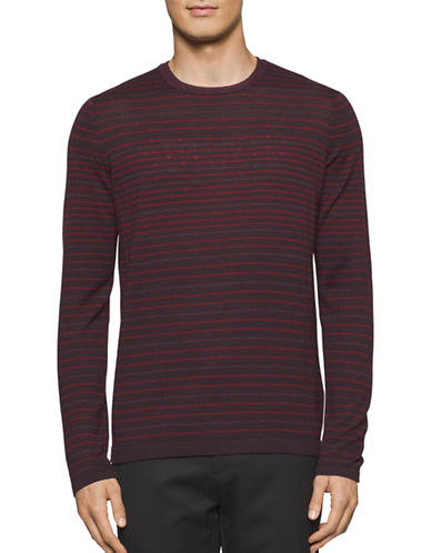 Calvin Klein Striped Knit T-Shirt-BROWN-Small