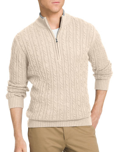 Izod 7GG Cable Durham Sweater-ROCK HEATHER-3X Tall