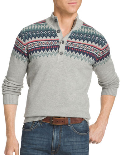 Izod 7GG Fair Isle Mock Neck Sweater-LIGHT GREY HEATHER-2X Big