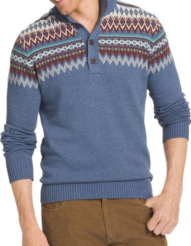 Izod 7GG Fair Isle Mock Neck Sweater-BLUE-4X Big