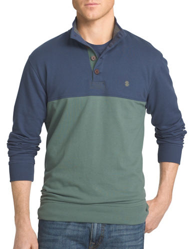 Izod Light Fleece Pieced Colourblock Polo-GREEN-3X Tall