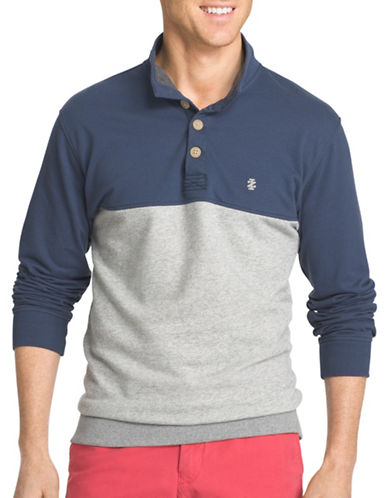 Izod Light Fleece Pieced Colourblock Polo-ANCHOR-3X Big
