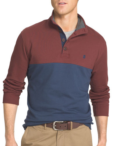 Izod Light Fleece Pieced Colourblock Polo-ANDORRA-4X Big