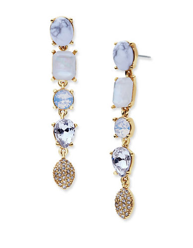 Jenny Packham Multi-Stone Linear Drop Earrings-WHITE-One Size