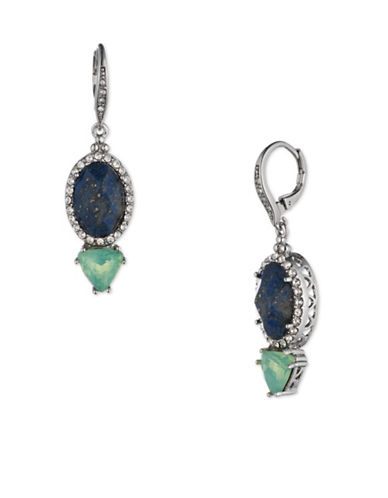 Jenny Packham Two Stone Leverback Earrings-BLUE-One Size