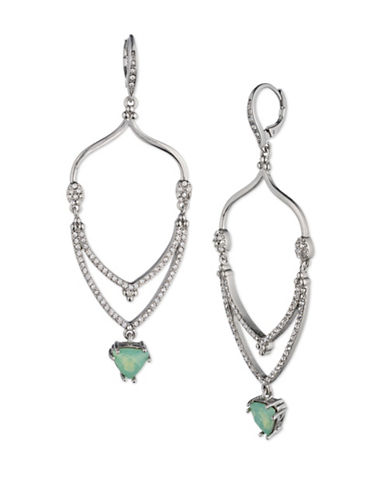 Jenny Packham Pave Leverback Drop Earrings-GREEN-One Size