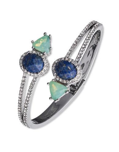 Jenny Packham Silvertone Pave Hinged Bangle Bracelet-BLUE-One Size