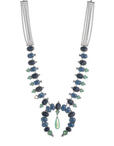 Jenny Packham Multi-Stone Cresent Statement Necklace-BLUE-One Size