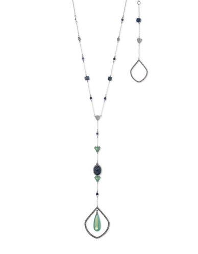 Jenny Packham Drop Pendant Station Y-Necklace-SILVER-One Size