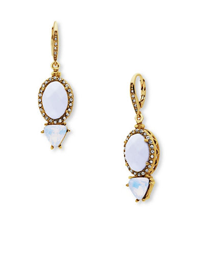 Jenny Packham Pave Two-Stone Leverback Earrings-WHITE-One Size