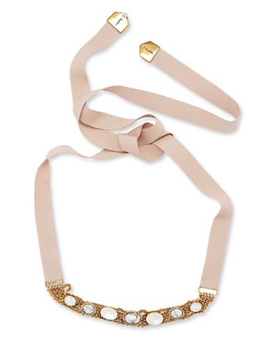Jenny Packham Chain and Stone Wrap Necklace-PINK-One Size