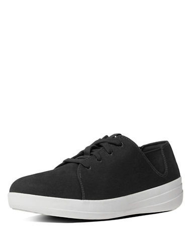 Fitflop Canvas Lace-Up Sneakers-BLACK-8.5