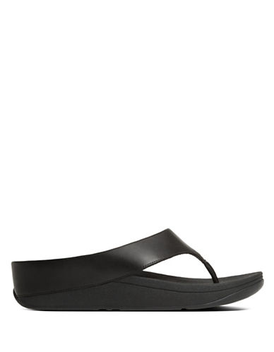 Fitflop Ringer Leather Thong Sandals-BLACK-7
