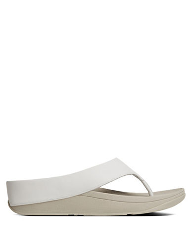 Fitflop Ringer Leather Thong Sandals-WHITE-9