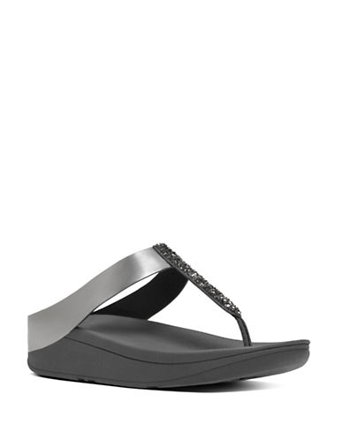 Fitflop Fino Toe TM Faux Leather Thong Sandals-PEWTER-10
