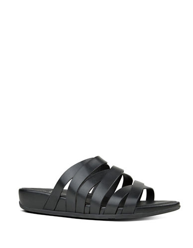 Fitflop Lumy Leather Crisscross Slide Sandals-BLACK-6