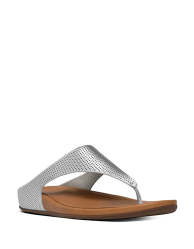 Fitflop Banda TM Perforated Thong Sandals-SILVER-8