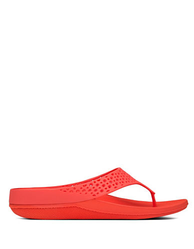 Fitflop Ringer Jelly Flip Flops-RED-6